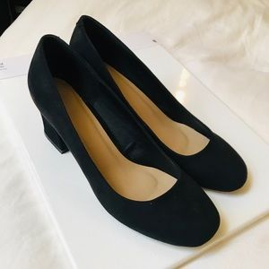 Black Round Toe Block Heel Pump-High